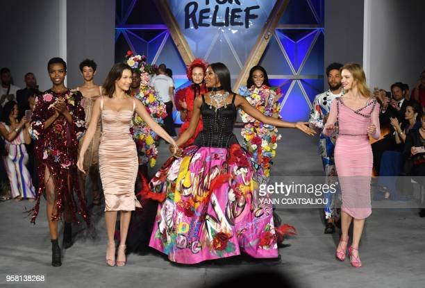 British model Naomi Campbell Angolan model Maria Borges US model Bella Hadid Canadian model Winnie Harlow and Russian model Natalia Vodianova attend...