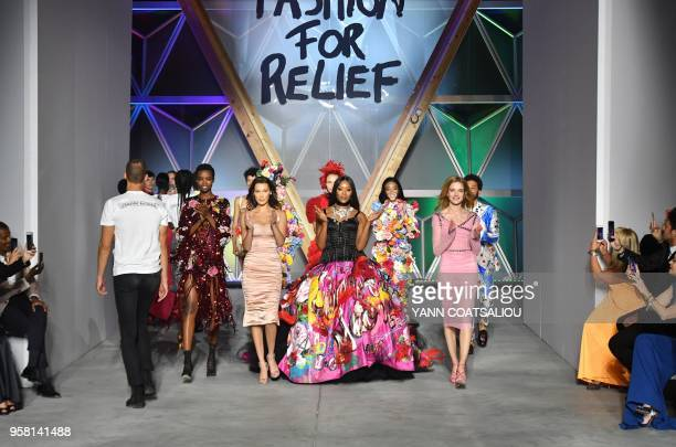 British model Naomi Campbell Angolan model Maria Borges US model Bella Hadid Canadian model Winnie Harlow and Russian model Natalia Vodianova attend...