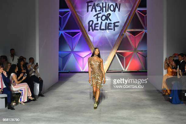 British model Naomi Campbell attends on May 13 2018 the Fashion For Relief Cannes 2018 event on the sidelines of the 71st edition of the Cannes Film...