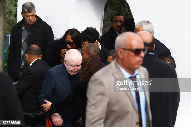 British model Naomi Campbell attends the funeral ceremony of Tunisian fashion designer Azzedine Alaia who died in aged 77 in Paris at the Sidi Bou...