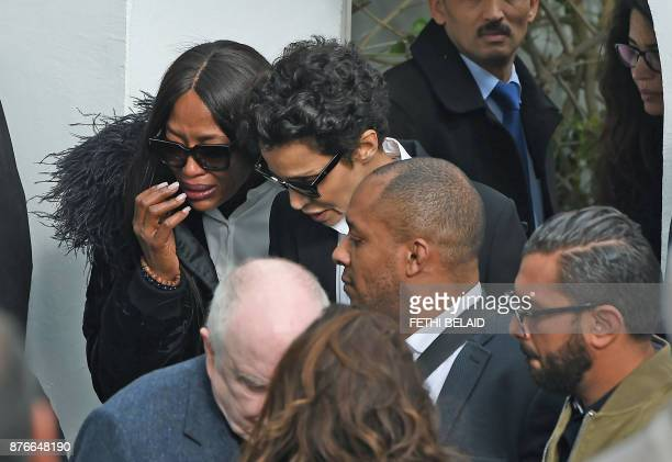 British model Naomi Campbell FrenchAlgerian actress Farida Khelfa and TunisianItalian model Afef Jnifen attend the funeral of the late Tunisian...