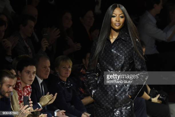 British model Naomi Campbell presents a creation for Louis Vuitton during the men's Fashion Week for the Fall/Winter 2018/2019 collection in Paris on...