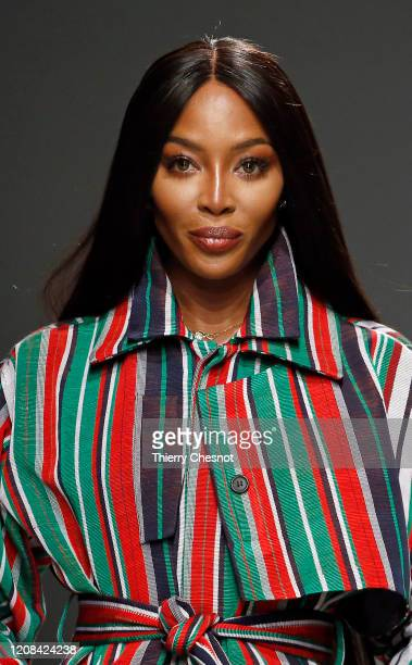 British model Naomi Campbell walks the runway during the Kenneth Ize show as part of the Paris Fashion Week Womenswear Fall/Winter 2020/2021 on...