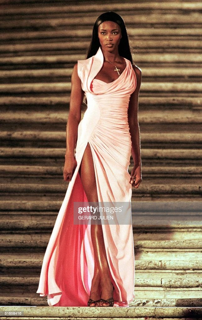 British model Naomi Campbell wears an evening gown Pictures | Getty ...