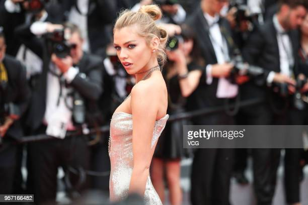 British model Stella Maxwell attends the screening of 'Sorry Angel ' during the 71st annual Cannes Film Festival at Palais des Festivals on May 10...