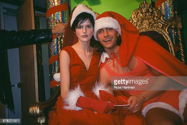 British model Stella Tennant and Swedish model Marcus Schenkenberg attend the Jean Paul Gaultier Christmas party hosted by Charivari in New York USA...