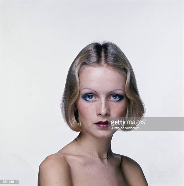 British model Twiggy wears her hair in an elegantly waved bob in a promotional shot for the Ken Russell film 'The Boy Friend' 1970