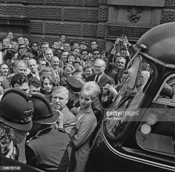 British models and showgirls Mandy RiceDavies in front and Christine Keeler behind currently involved in the Stephen Ward court case and Profumo...