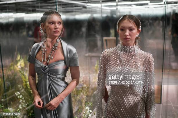 British models Kate Moss and her daughter Lila Grace Moss-Hack present creations by British designer Kim Jones for the Fendi's Spring-Summer 2021...