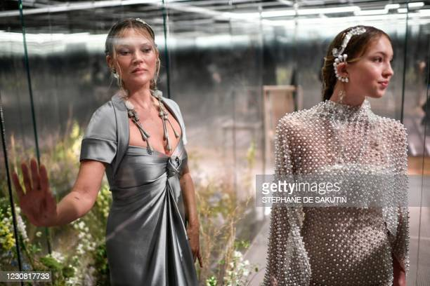British models Kate Moss and her daughter Lila Grace Moss-Hack present creations by British designer Kim Jones for Fendi's Spring-Summer 2021...