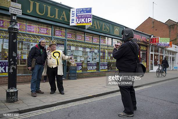 British Monster Raving Loony Party's candidate for the Eastleigh byelection Howling Laud Hope poses for pictures with Michael Fabricant Deputy...