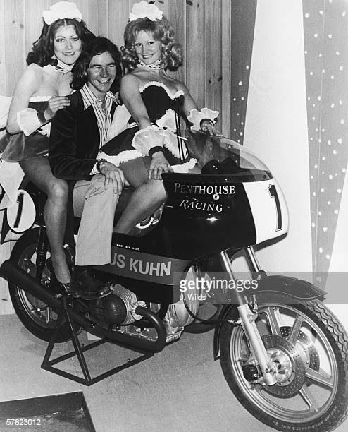 British motorbike champion Barry Sheene astride a Penthouse-sponsored BMW at the Racing and Sporting Motorcycle Show at the Royal Agricultural Hall,...