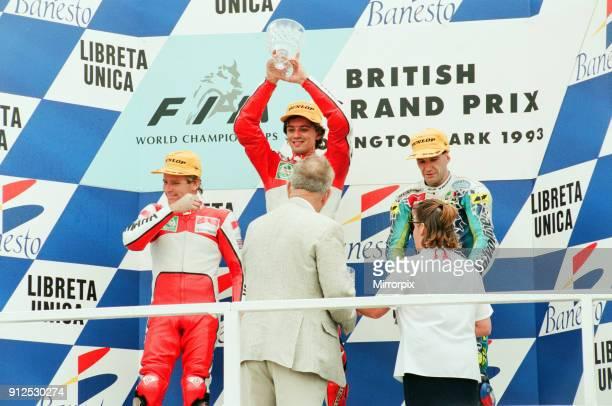 British Motorcycle Grand Prix Donington Park 1st August 1993 Podium 1st Luca Cadalora 2nd Wayne Rainey and 3rd Niall Mackenzie