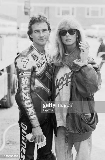 British motorcycle racer Barry Sheene and his partner British fashion model Stephanie McLean UK 22nd April 1984