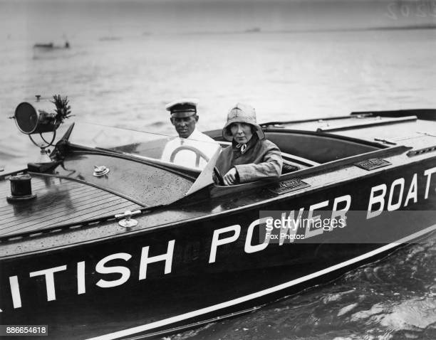 British motorist and speedboat racer Mrs Victor Bruce on her British Power Boat before attempting an endurance record for driving a speedboat...