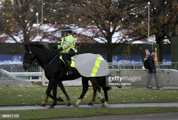 British mounted police patrol around Hyde Park during the last days of autumn on October 28 2017 in London England