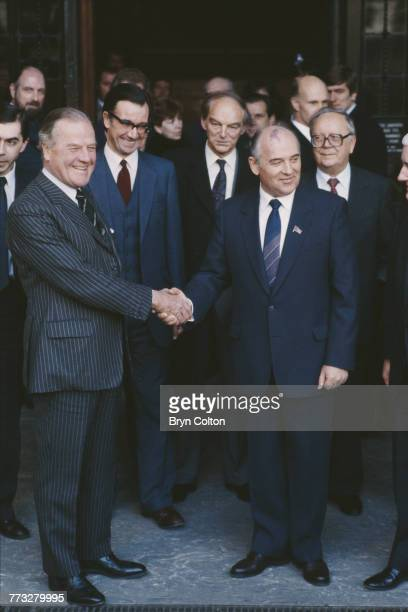 British MP and chairman of the Foreign Affairs select committee Sir Anthony Kershaw shakes hands with Soviet Politburo member Mikhail Gorbachev at...