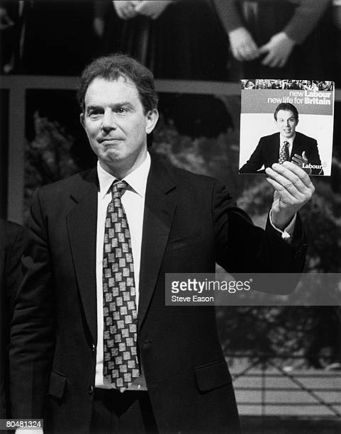 British MP and leader of the Labour Party Tony Blair launches the new party manifesto July 1996