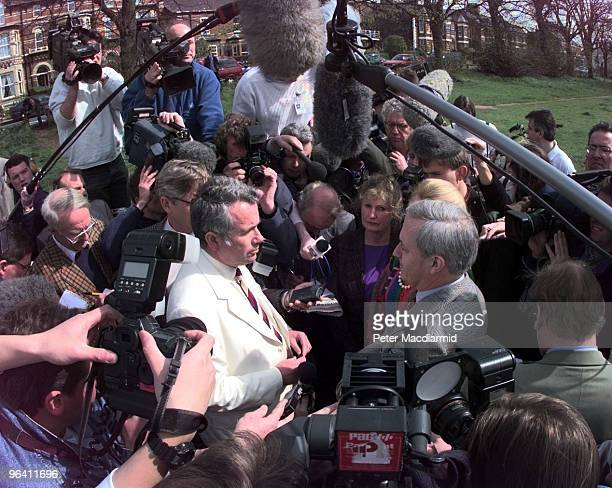 British MP Neil Hamilton meets his opponent former BBC war correspondent Martin Bell on Knutsford Heath during the 1997 election 8th April 1997...