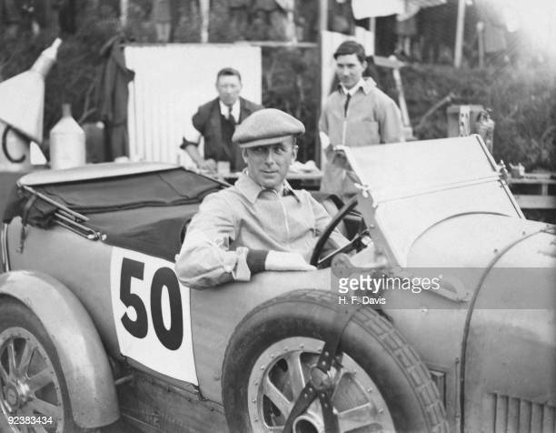 British MP Viscount Curzon at the wheel of his car during the RAC International Tourist Trophy Race at Dundonald Belfast 19th August 1928 He is...