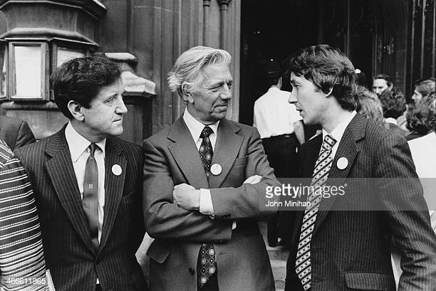 British MPs Charles Morris and Jack Ashley of the Labour party with David Alton of the Liberal Party outside the House of Commons London 18th July...