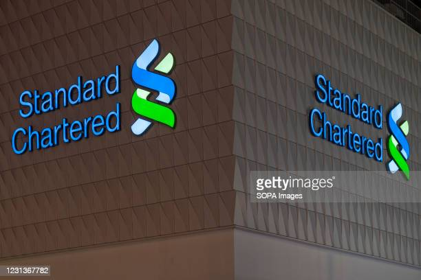 British multinational banking and financial services company Standard Chartered branch seen in Hong Kong.