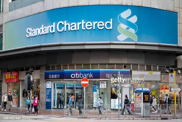 British multinational banking and financial services company, Standard Chartered branch seen in Hong Kong.