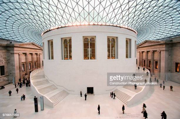 British Museum, Great Court, London, Hidden from public view since 1857, the Great Court allows visitors to move freely around the Main floor for the...