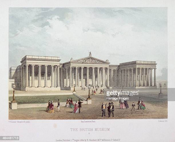 British Museum Holborn Camden London 1854 with visitors walking outside