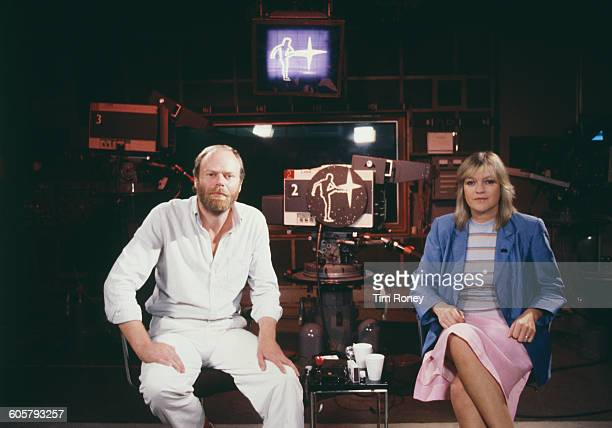 British music presenters Bob Harris and Annie Nightingale on the set of the BBC2 television programme 'The Old Grey Whistle Test' circa 1978
