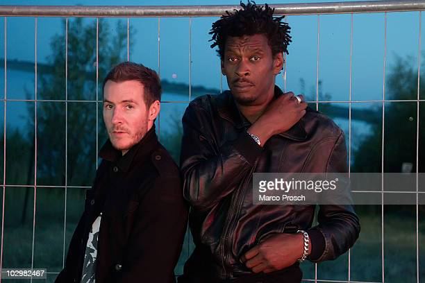 ACCESS*** British music production duo Massive Attack poses backstage at the Melt festival in Ferropolis on July 18 2010 in Graefenhainichen Germany