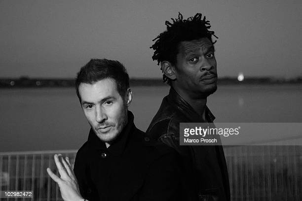 Image has been converted to black and white British music production duo Massive Attack poses backstage at the Melt festival in Ferropolis on July 18...