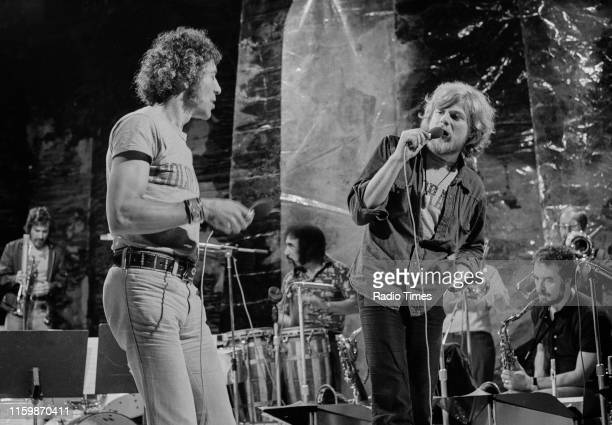 British musical group Collective Consciousness Society ; including Alexis Korner and Peter Thorup , performing on stage, July 27th 1972.