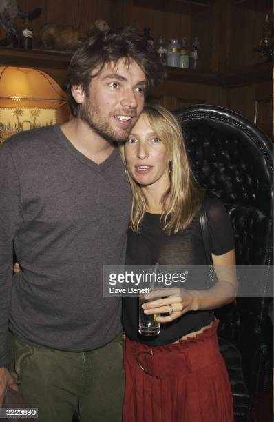 British musician Alex James and British artist Sam TaylorWood arrives at the launch party for 'Romance in the Age of Uncertainty' the latest body of...