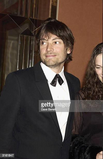 British musician Alex James and girlfriend attend the party for the UK premiere of the film 'Bright Young Things' held at Claridges Hotel on...