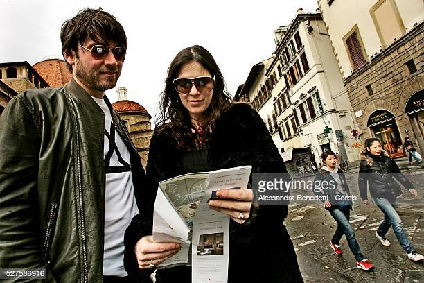 British musician Alex James and his wife Claire in Florence