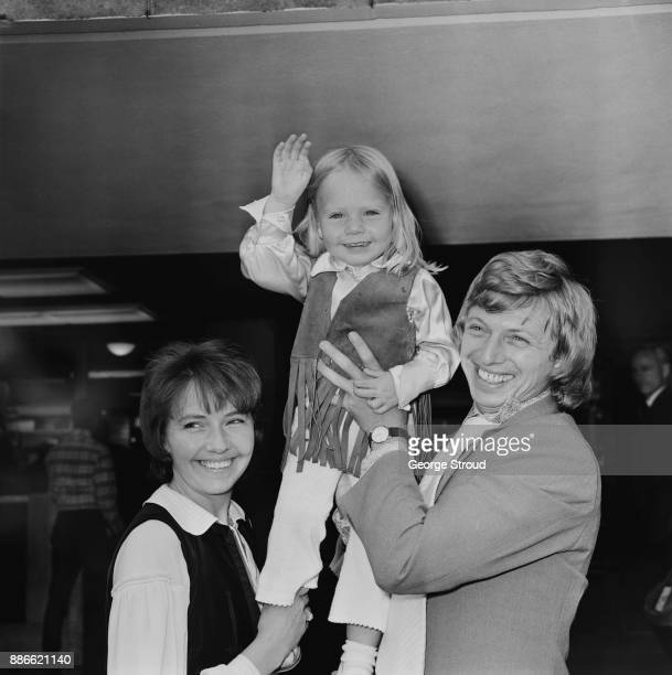 British musician and entertainer Tommy Steele with wife Ann Donoghue and daughter Emma at Heathrow Airport London UK 30th June 1971