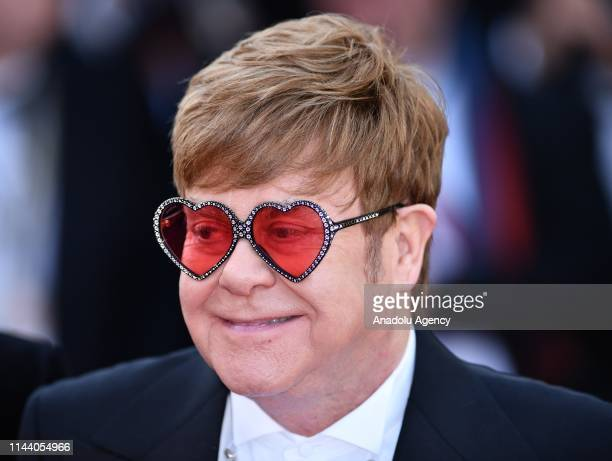 British musician and producer Elton John arrives for the screening of the film 'Rocketman' during the 72nd annual Cannes Film Festival in Cannes...