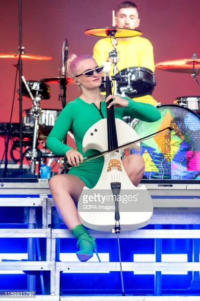 British musician and singer Grace Chatto performs with Clean Bandit on the main stage at Brighton Hove Pride Festival in Preston Park in Brighton...