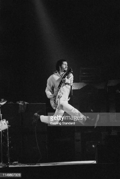 British musician and songwriter Pete Townshend of rock band The Who performing live during the concert tour supporting 'The Who By Numbers' at...