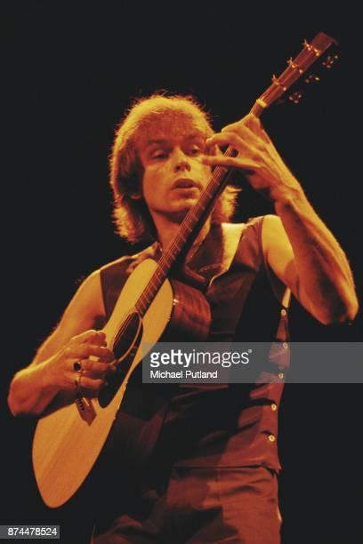 British musician and songwriter Steve Howe of progressive rock group Asia London UK 1983