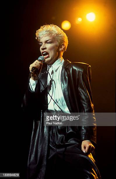 British musician Annie Lennox of the Eurthymics performs at the Poplar Creek Music Theater in Hoffman Estates Chicago Illinois August 211986