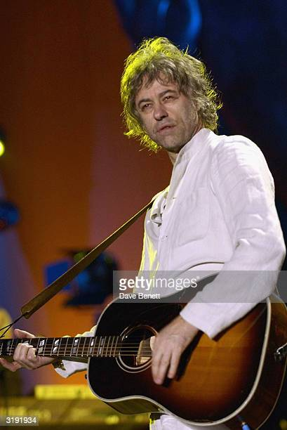 British musician Bob Geldof performs on stage as part of the Give 1 Minute to AIDS concert for The Nelson Mandela Foundation's 46664 campaign held at...