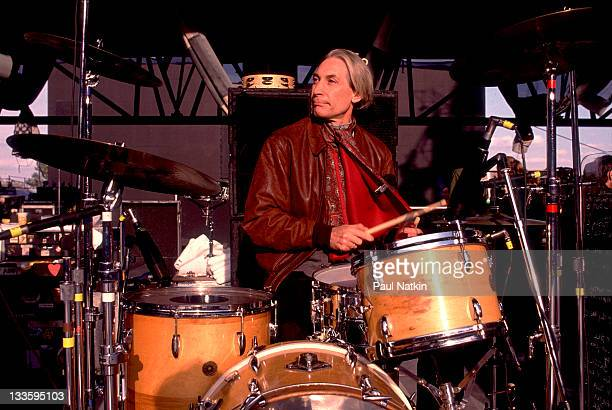 British musician Charlie Watts of the Rolling Stones performs on stage during the band's 'Steel Wheels' tour late 1989