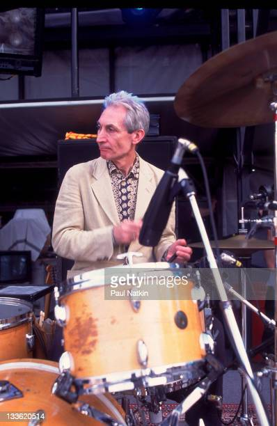 British musician Charlie Watts of the Rolling Stones performs on stage during the band's 'Voodoo Lounge' tour late 1994