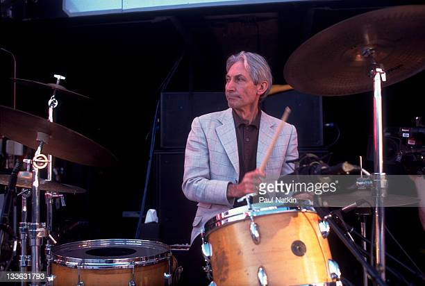 British musician Charlie Watts of the Rolling Stones performs on stage during the band's 'Bridges to Babylon' tour late 1997 or early 1998