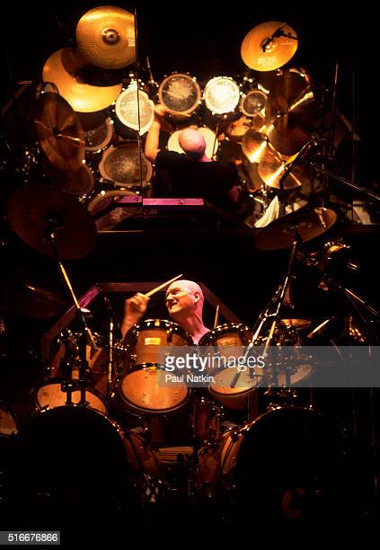 British musician Chris Slade, of rock group the Firm, plays drums as he performs onstage at the Milwaukee Arena, Milwaukee, Wisconsin, March 7, 1985.
