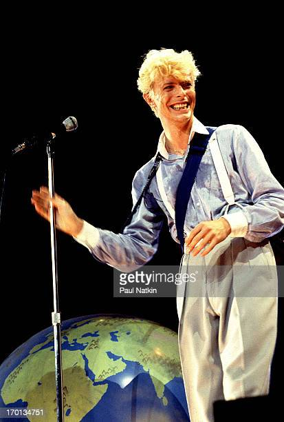 British musician David Bowie performs on stage at the Rosemont Horizon theater Rosemont Illinois August 3 1983
