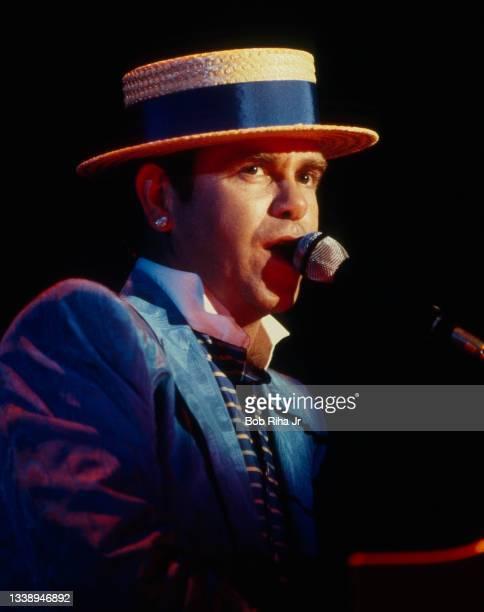 British musician Elton John performs in concert, August 26,1984 at Irvine Meadows Amphitheater in Irvine, California.