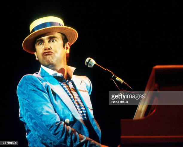 British musician Elton John performs in concert, August 26,1984 at Irvine Meadows Amphitheater in Irvine, California.